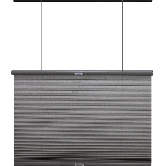 top down bottom up light filtering cellular shade in grey with white background