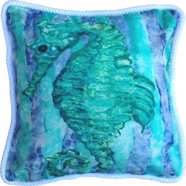 Aqua Seahorse Pillow  PacificHomeFurniturecom