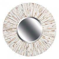 White Distressed Wood Mirror-Round | PacificHomeFurniture.com