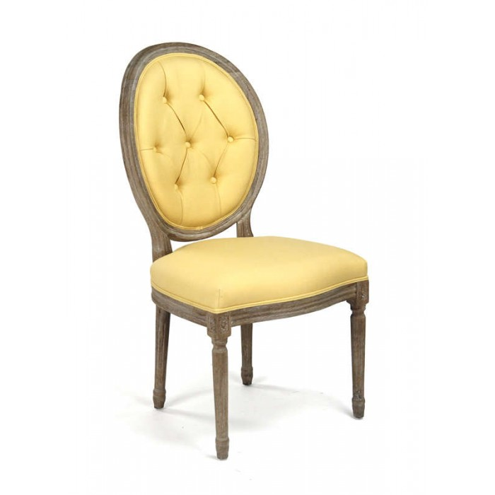 Medallion Tufted Back Side Chair Yellow