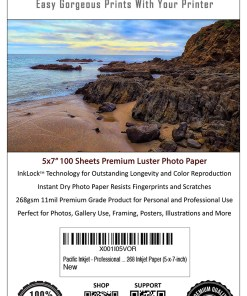Pacific Inkjet 5x7 Luster Photo Paper Product Label