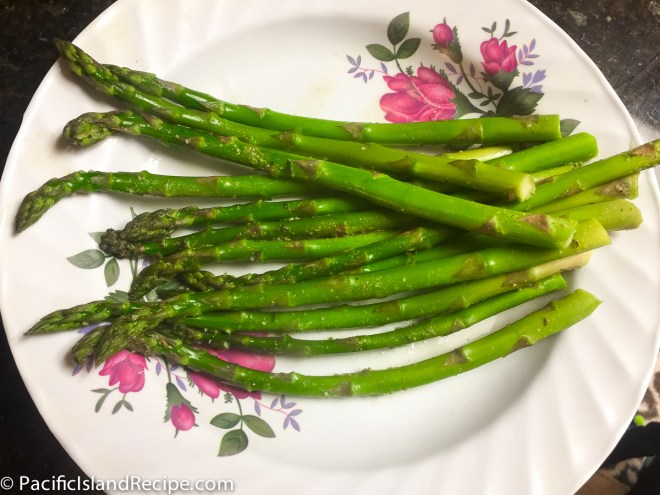 Freshly steamed, asparagus with added garlic salt and all seasons salt.