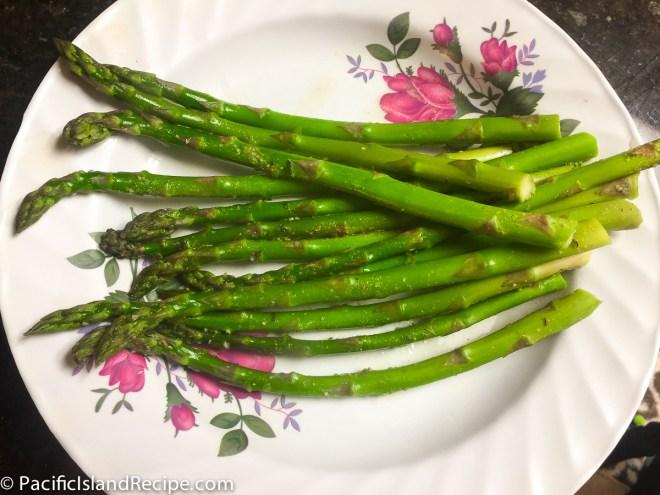 Freshly steamed, asparagus with added garlic salt and all seasons salt.