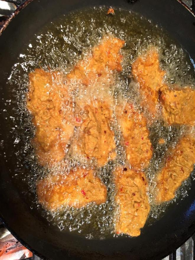 Deep frying fish