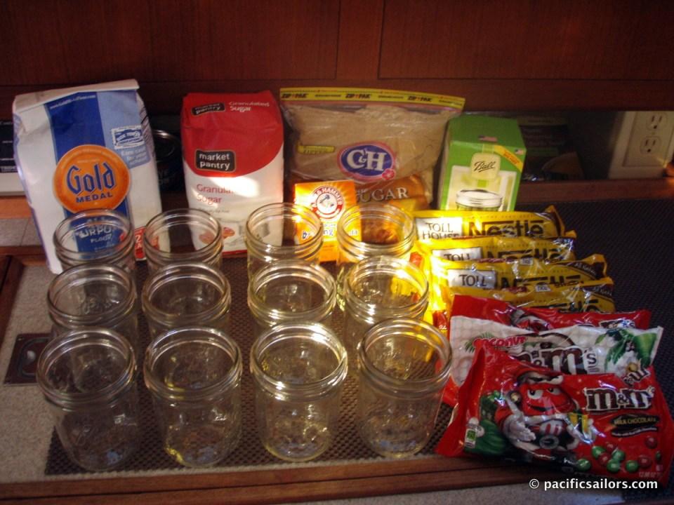Holiday cookies in a pint jar ingredients