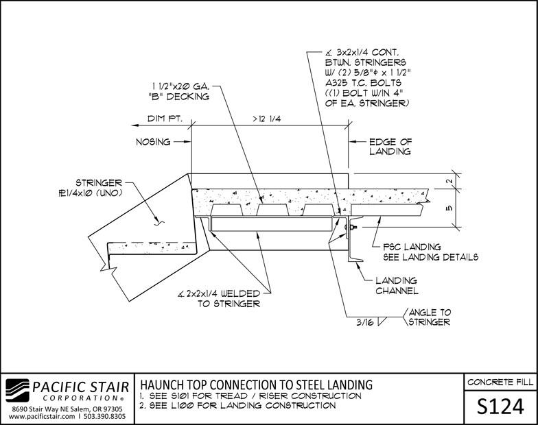Concrete Filled Stairs Landings Pacific Stair Corporation | Concrete Filled Metal Pan Stairs | Staircase | Wood | Edge | 5 Flight | Detail