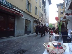 A very random marching band promoting a circus in town. Very cool and quick way to be serenaded at dinner!