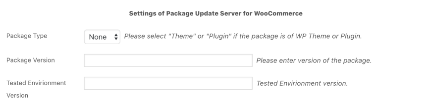 Package Update Server for WooCommerce - Product Settings