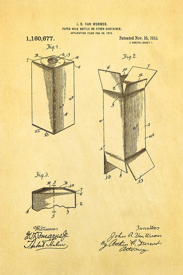 John Van Wormer, First Rectangular Milk Bottle, invention of Paper bottle,
