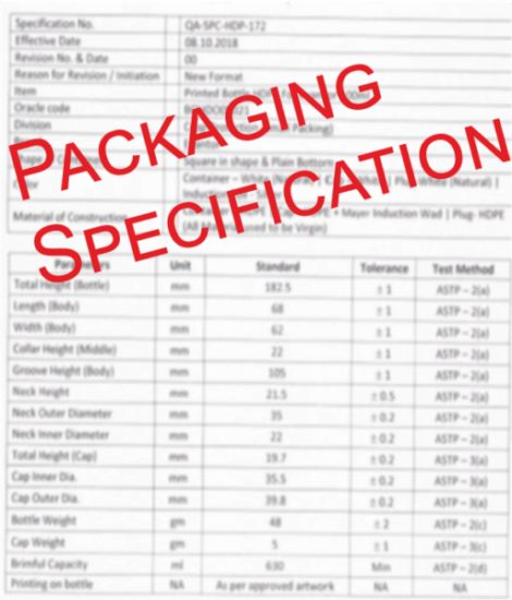 packaging material specification, packaging specification, packaging specification template,