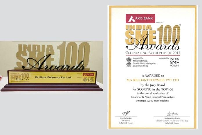 India SME Top 100 Award & Certificate