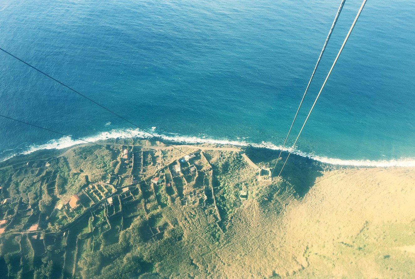 Very steep drop from Rocha do Navio cable car - Madeira - Portugal