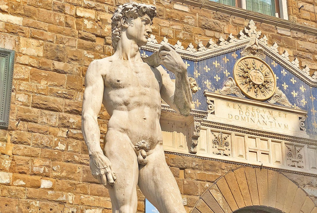 Copy of David my Michelangelo in Florence on the Piazza della Signoria