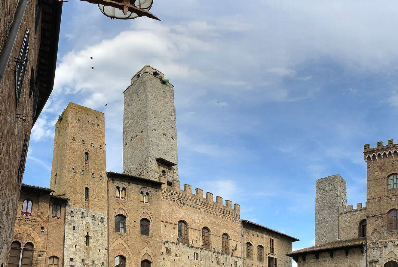 Towers of San Gimignano from the center of the Village