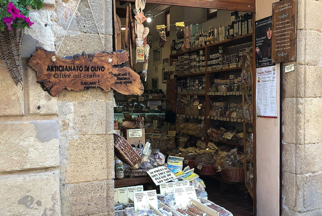 Typical artisanal shop with specialty products such as the Pecorino Cheese