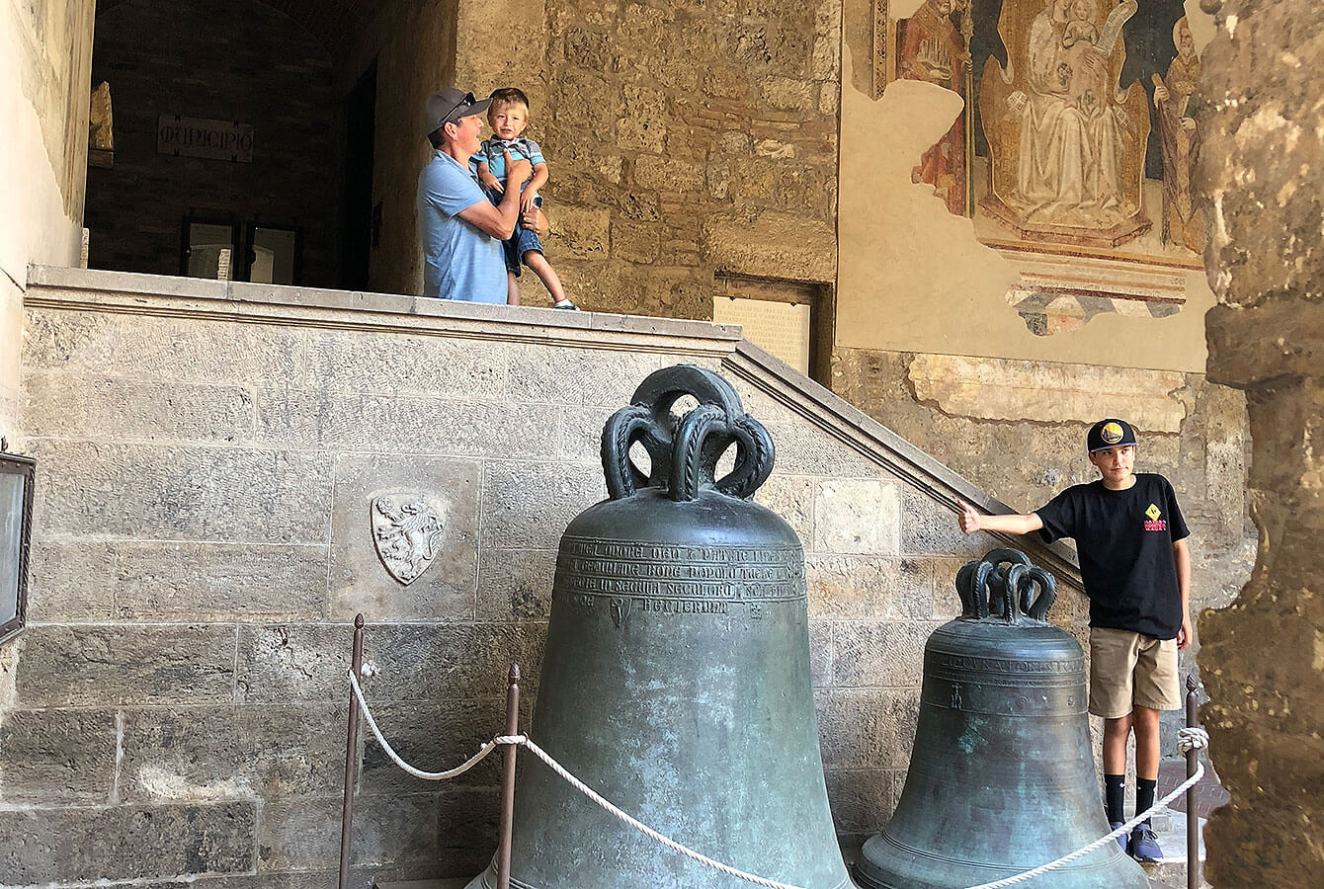 San Gimignano - Hidden away the massive bells from one of the towers