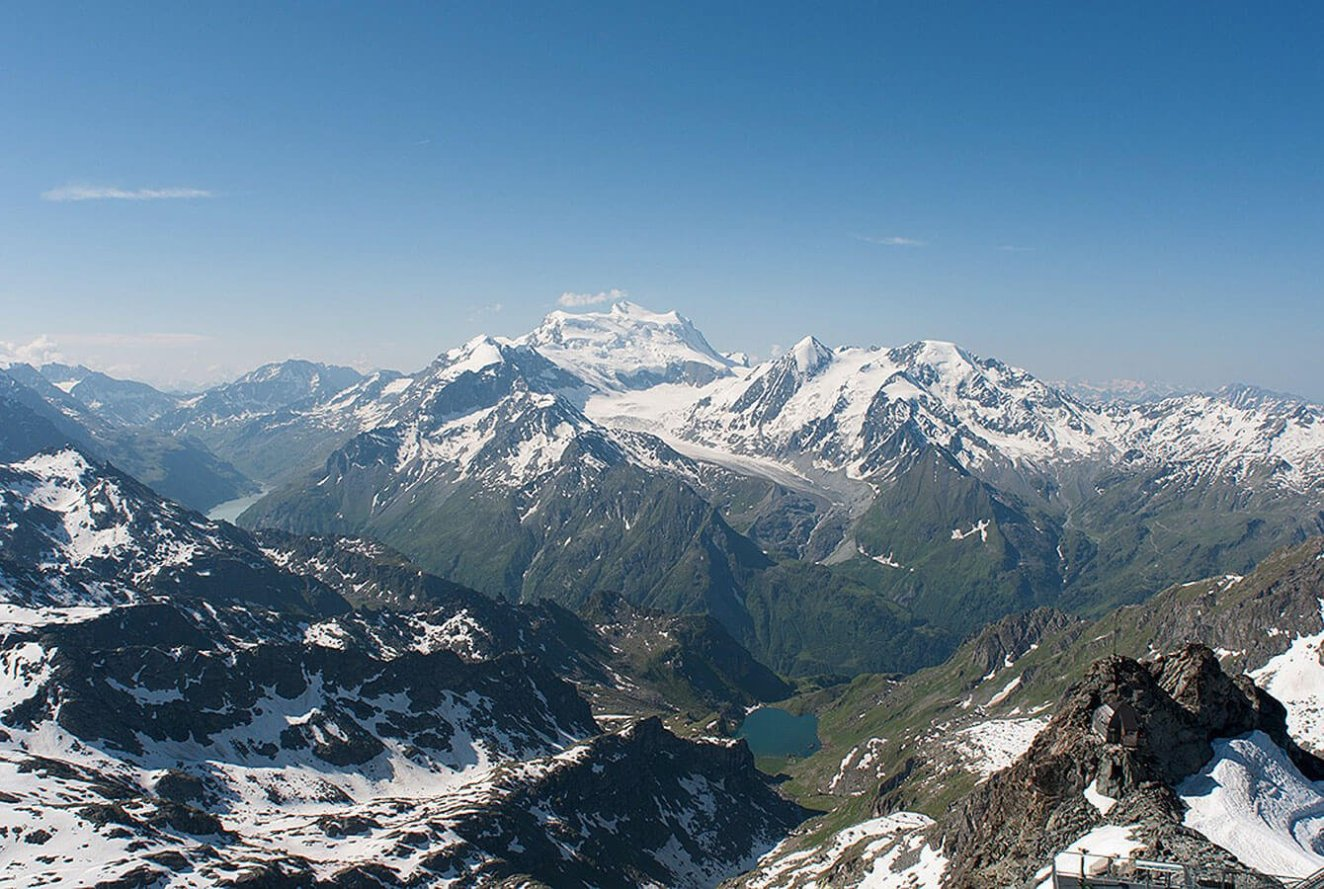 View from the Mont Fort Summit 3330m over to the Grand Combin