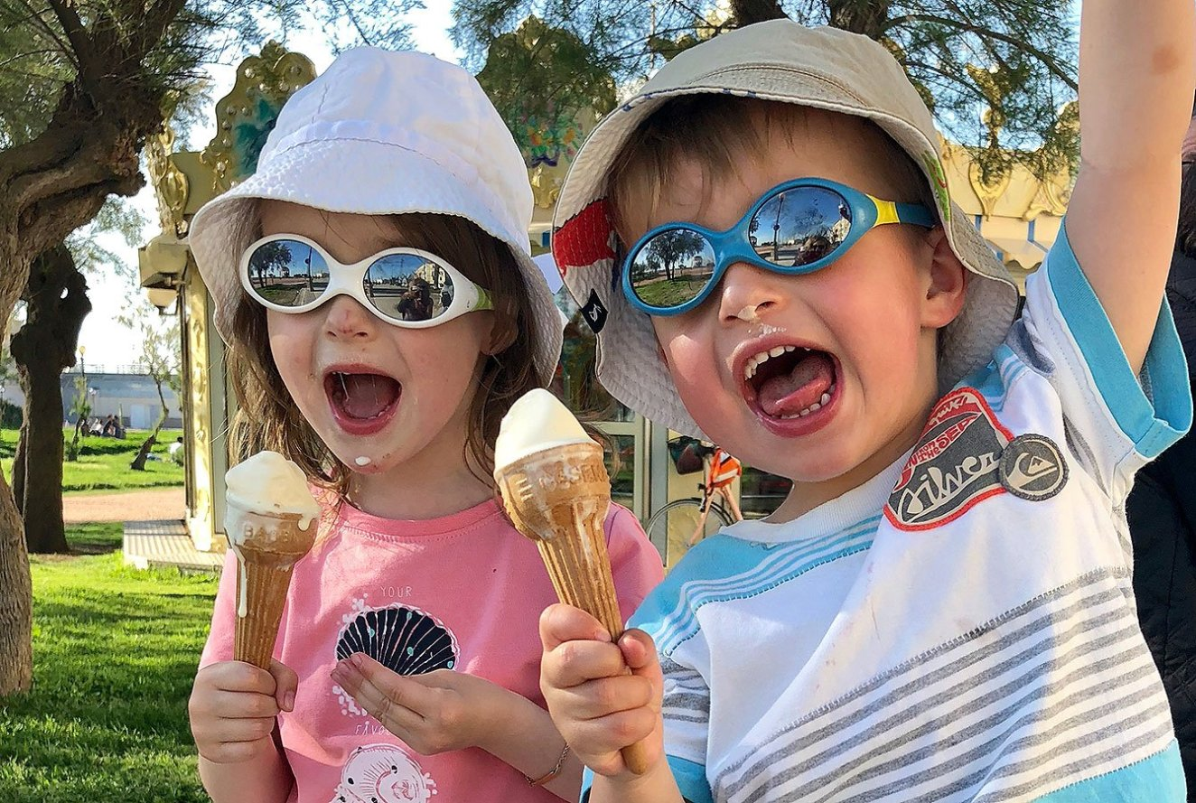 Kids eating Bonifacio Ice cream - the best - Corsica - France