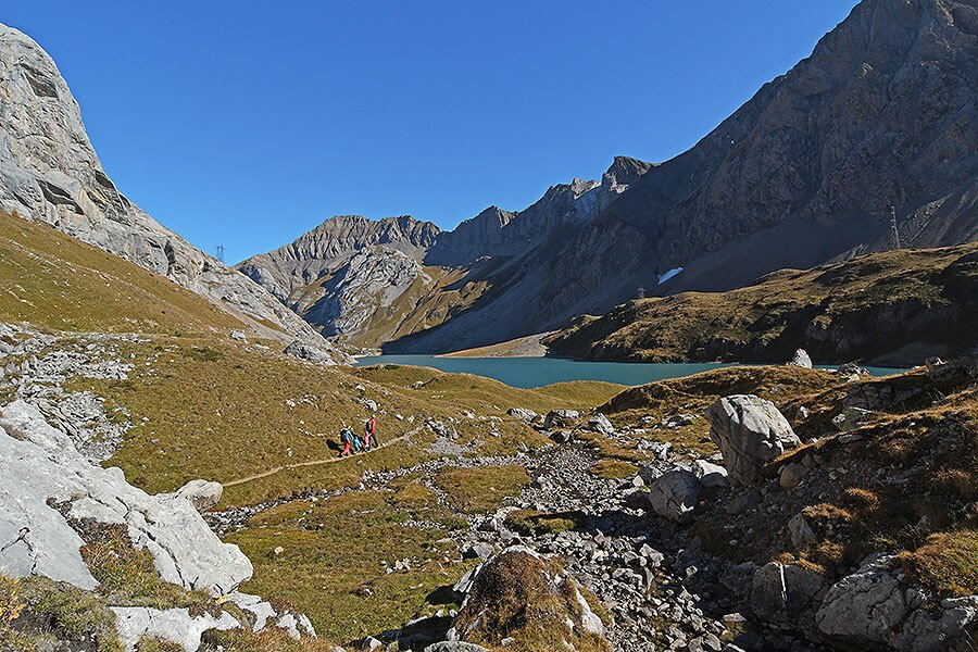 Arriving at the Pass level and seeing Lake Sanetsch