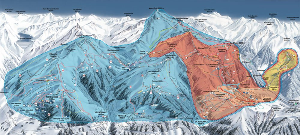 ski map from les 4 Vallées Verbier