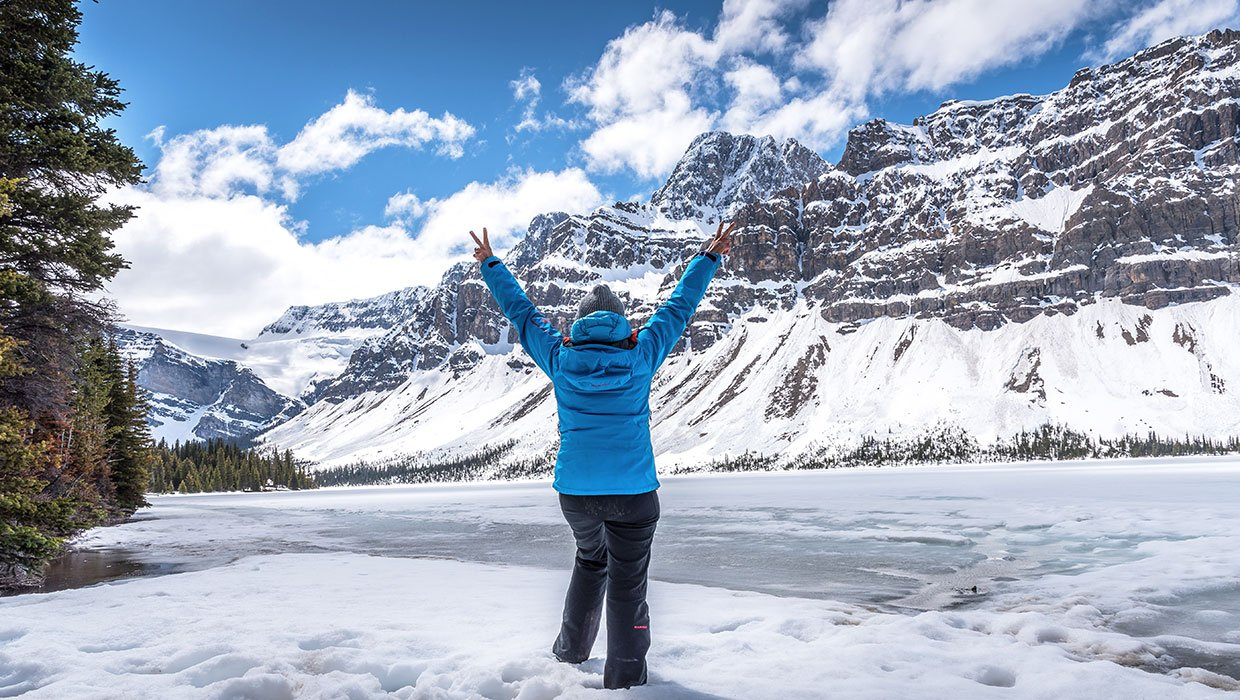 woman standing at Canadian bow lake