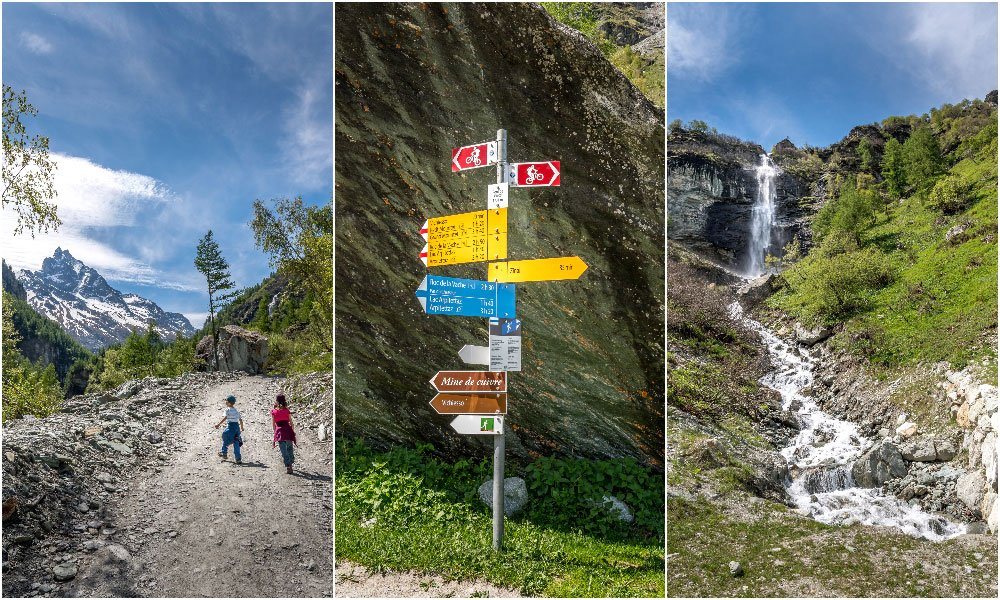 diverse photos on the hike to cabane de Mountet