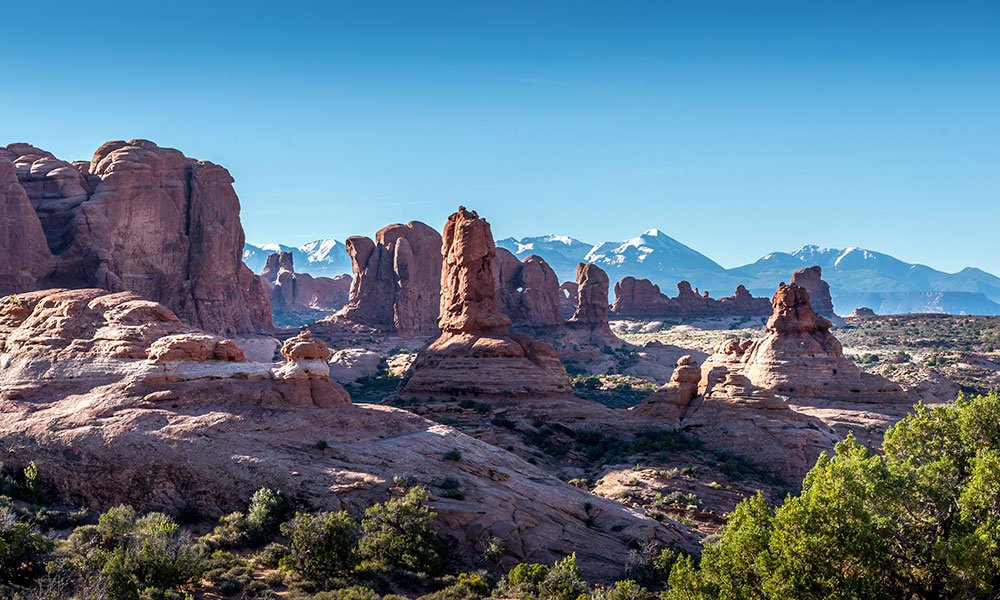 skyline with arches, pinnacles and rocks at the arches national park