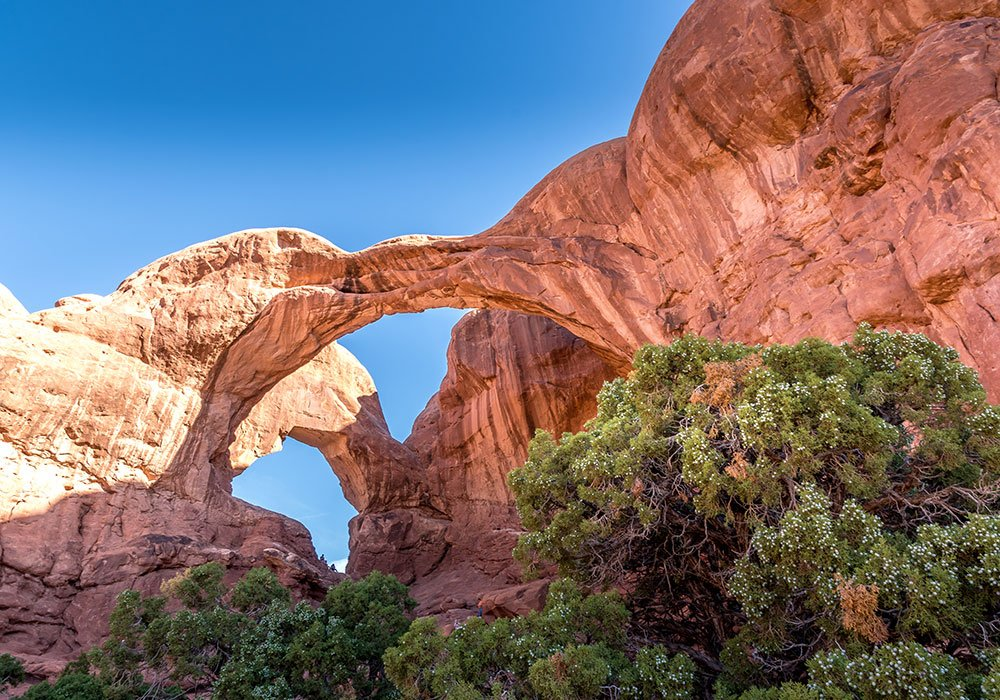 showing the double arch at arches National Park