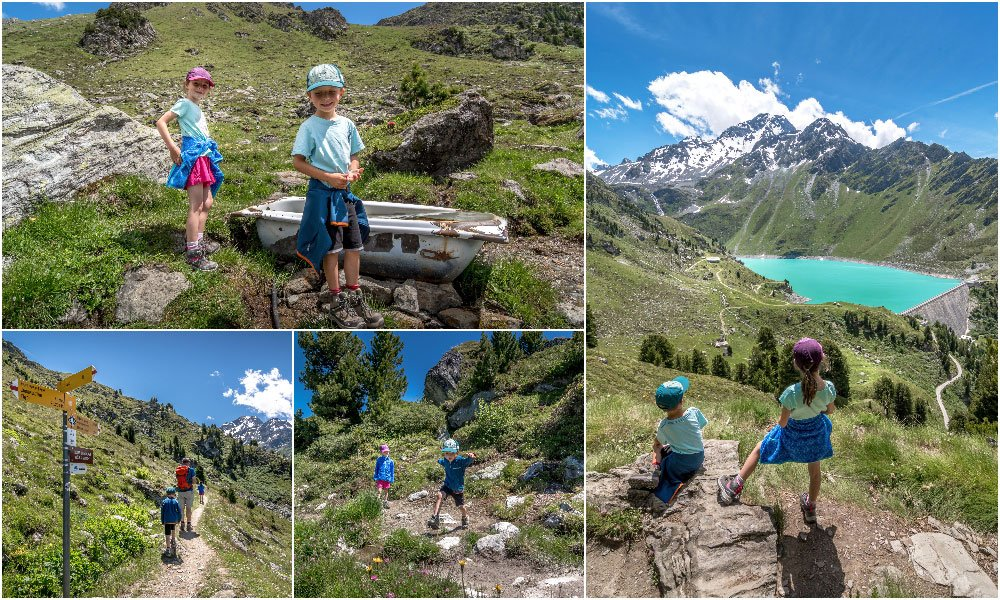 family hiking in the Valais Alps