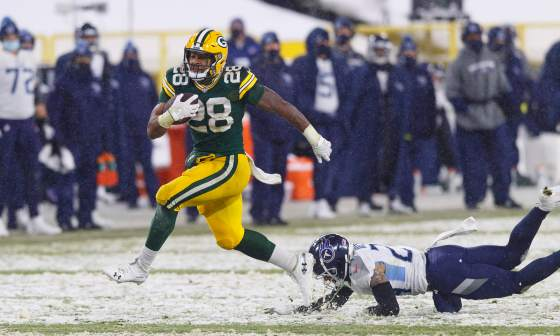 Packers rookie A.J. Dillon shines in blowout win over Titans