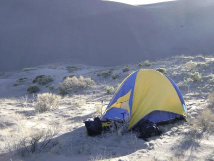 tent in dunes