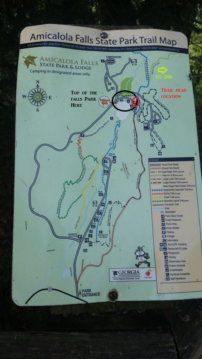 Amicalola Falls Map : amicalola, falls, GEORGIA:, Amicalola, Falls, Packgoats