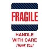 #DL1560  4×6″  Fragile Handle with Care Thank You (Black-Blue Stripes) Label $24.29/piece