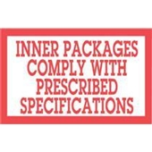 #DL1810  3×5″  Inner Packages Comply with Prescribed Specs.  Label $13.91/piece