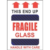 #DL1980 4×6″ This End Up Fragile Glass Handle with Care (Black-Blue Stripes/Arrows) Label $24.29/piece