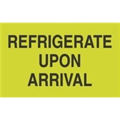 #DL2601  3×5″  Refrigerate Upon Arrival (Fluorescent Green/Black) Label $13.91/piece
