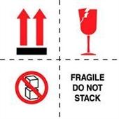 #DL4501  4×4″  Fragile Do Not Stack (Boxes/Arrows/Broken Glass) Label $13.91/piece