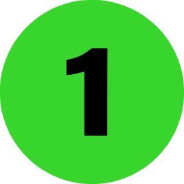 2″ Inventory Numbered Circles #1 Fluorescent Green $10.04/piece