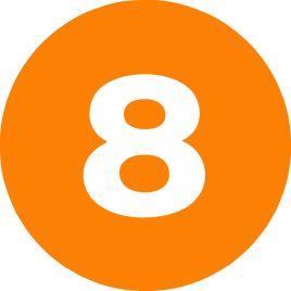 2″ Inventory Numbered Circles #8 Orange $10.04/piece
