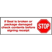 2″x110 yds. 2.0 Mil Stop If Seal Is Broken Pre-Printed Carton Sealing Tape (36/Case) $147.37/piece