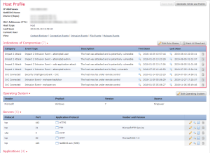 Screenshot of a FMC host profile.
