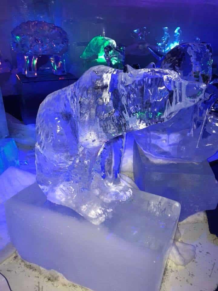 Bear ice sculpture