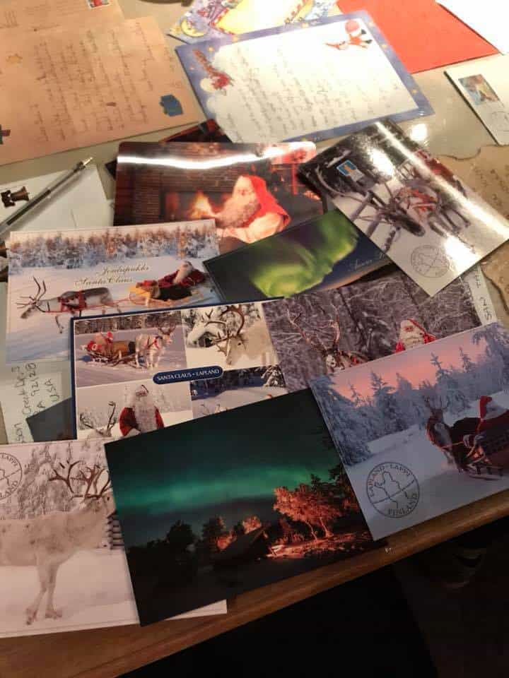 Postcards getting ready to be mailed from Lapland, Finland