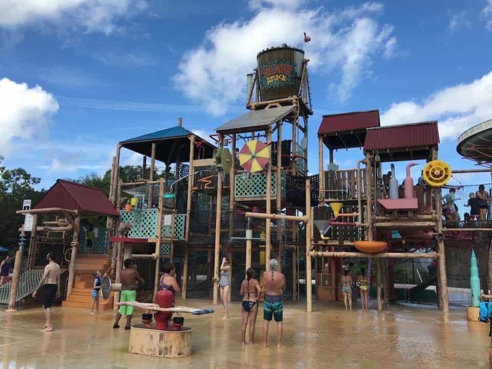 Water splash area with slides