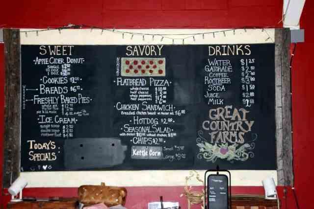 Great Country Farms Bluemont, Virginia restaurant menu