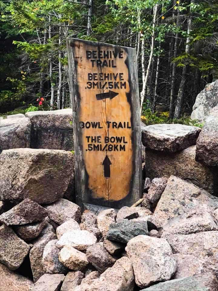 acadia national park hiking trails Beehive trail sign