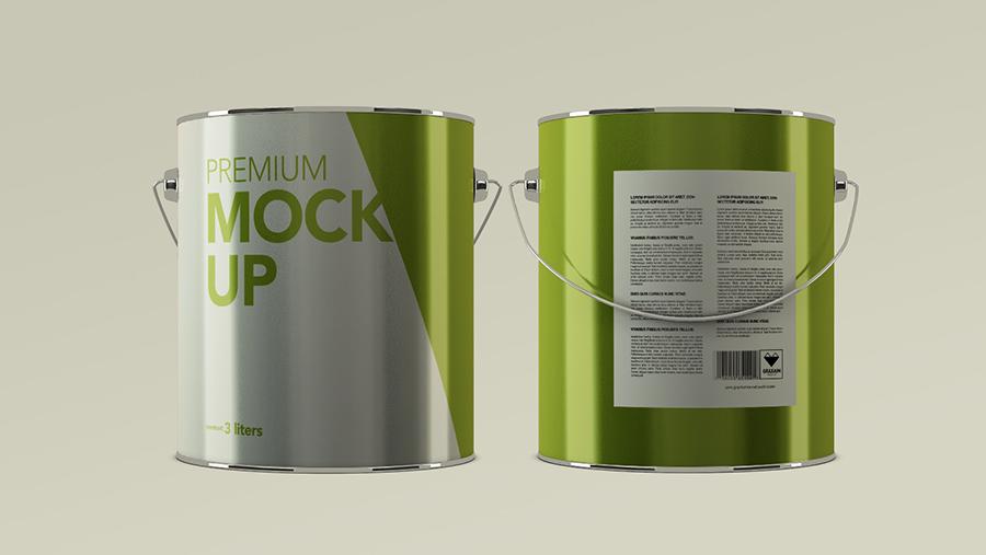 Packreate  Aluminium Paint Can Packaging Mockup