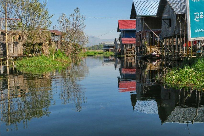 Floating houses on Inle Lake