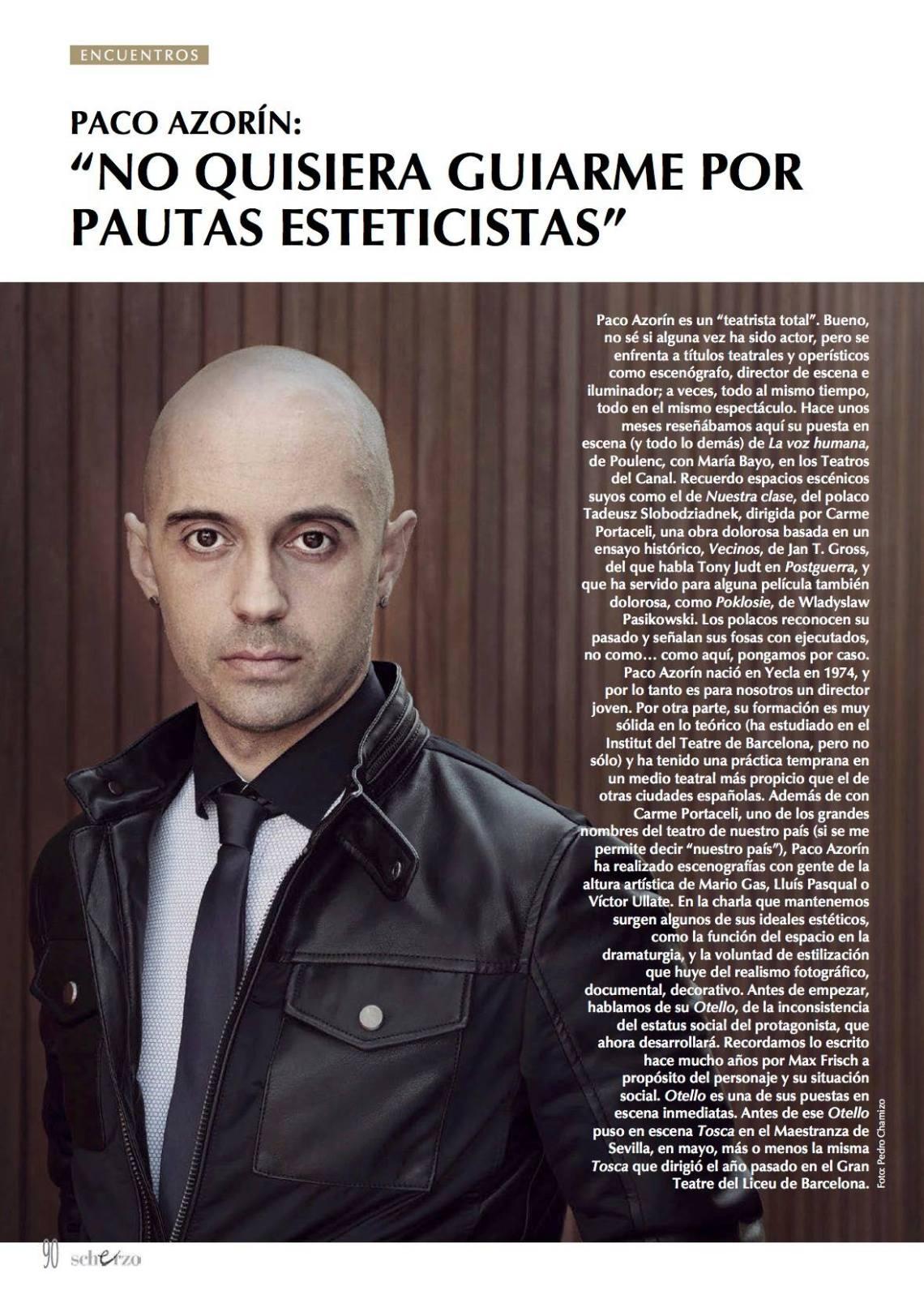 Paco Azorín en la Revista Scherzo. Oct 2015. 1