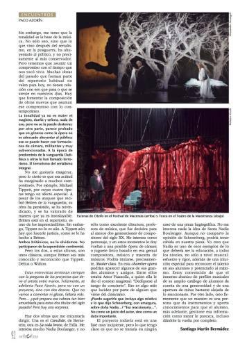 Paco Azorín en la Revista Scherzo. Oct 2015. 3
